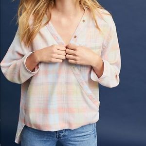 Maeve Anthro Wrapped Plaid Top